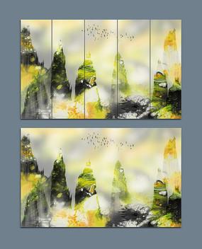 碧绿抽象唯美山水艺术画