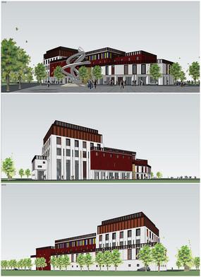 下载收藏 幼儿园建筑设计su模型 下载收藏 徽派新中式建筑房子su模型图片
