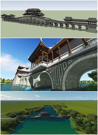 古建桥梁设计SU模型效果图