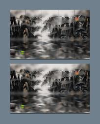 黑白抽象唯美国画山水画作