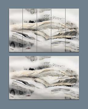 黑白大理石抽象电视背景墙