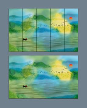 绿色抽象山水水墨艺术画