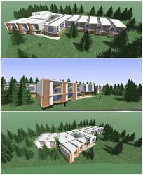 山地教学楼su模型