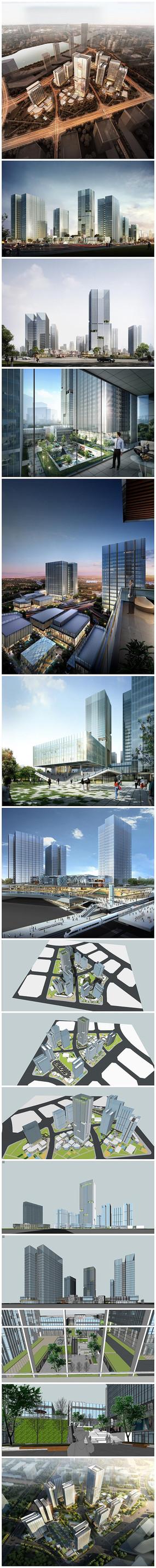 商务办公区建筑景观SU模型