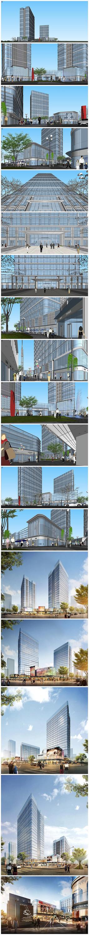 现代商业广场SU模型效果图
