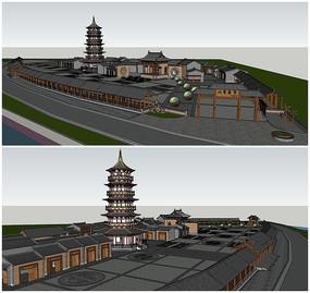 中式集市塔楼古塔古镇SU模型