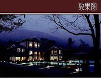 独栋古典建筑夜景效果图