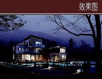独栋现代别墅夜景效果图