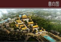古庙建筑景观效果图