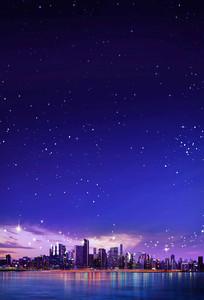 海边城市夜景海报背景