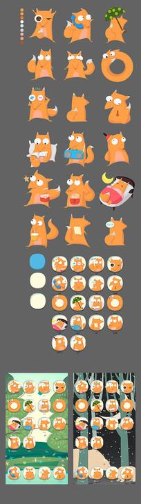 狐狸系列UI标志卡通形象