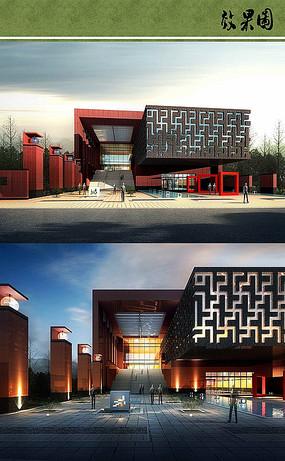 新中式博物馆效果图