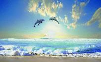 油画肌理海景海豚电视背景墙