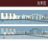 中式古典围墙效果图
