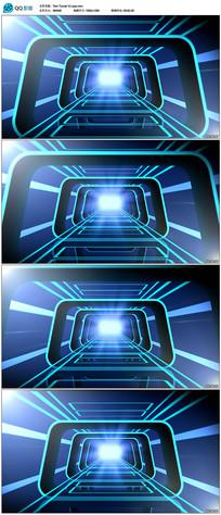 3D蓝色光线隧道背景视频