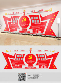 党员活动室背景墙展板