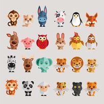 卡通动物可爱表情素材设计
