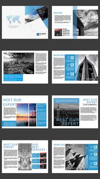 蓝色风格企业宣传画册设计模版