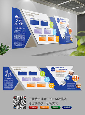 企业文化背景墙展板 CDR
