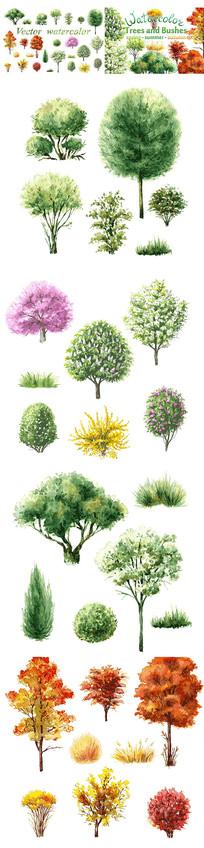水粉树风景画