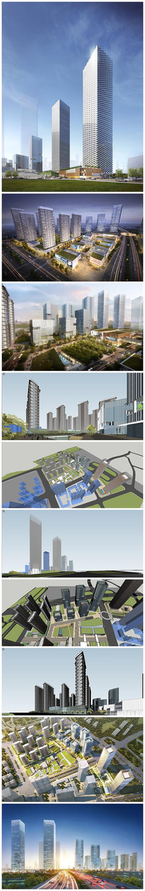 现代中央公园建筑景观SU模型