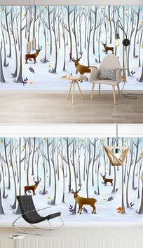 北欧现代手绘麋鹿森林背景墙