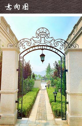 别墅花园铁艺装饰大门