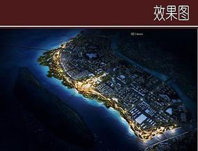 滨江景观夜景效果图