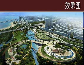 滨江圆形广场规划效果图