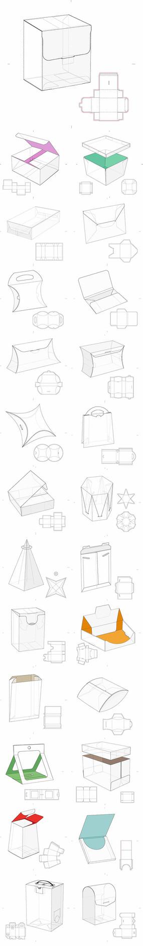 产品包装盒展开图设计图纸