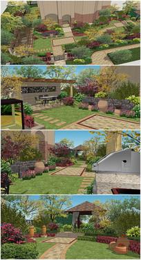 东方景观庭院园林SU模型
