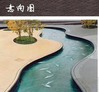 广场水纹曲线水景