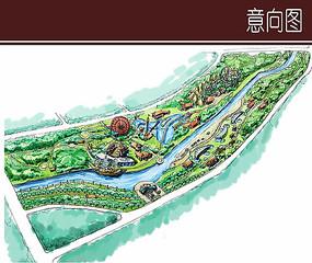 河道景观手绘鸟瞰图