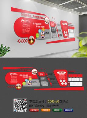 红色大气企业文化墙 CDR