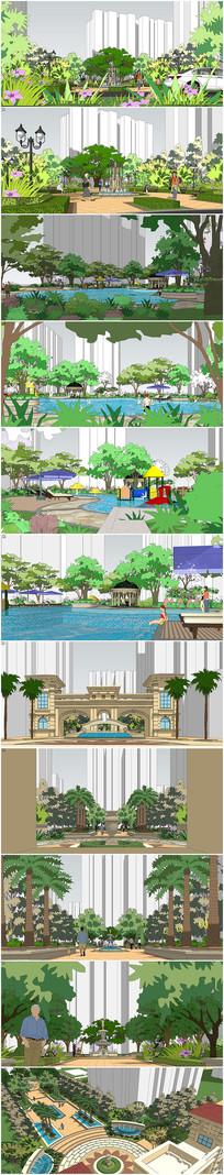 精品现代小区景观设计SU模型