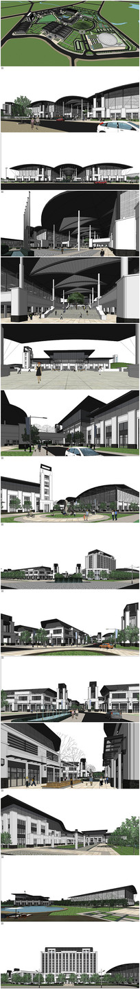 现代风格体育中心建筑SU模型