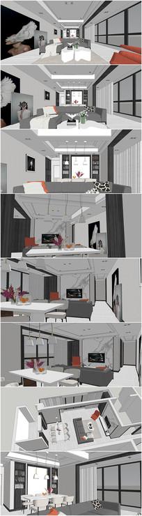 现代客餐厅设计su模型