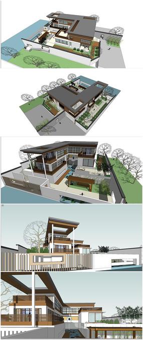 现代中式别墅建筑景观su模型