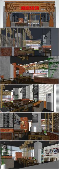 小型餐馆建筑室内SU模型