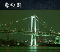 夜晚的斜拉索大桥
