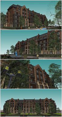 英式花园洋房建筑景观SU模型