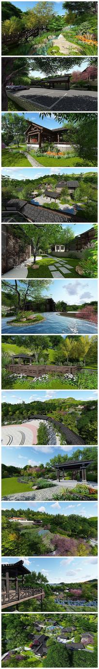 中式公园SU模型及高清效果图