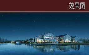 中式建筑滨水效果图