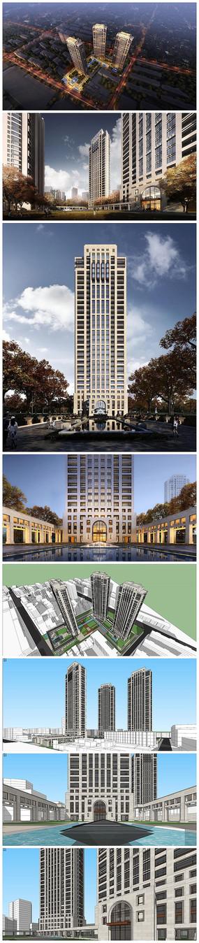 住宅建筑景观SU模型效果图