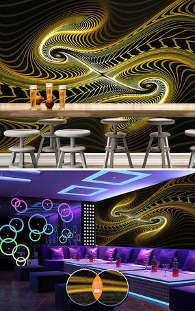大气动感线条酒吧KTV背景墙