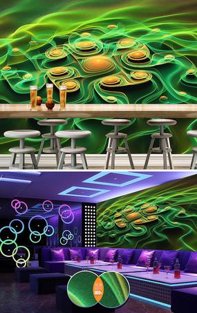 动感线条酒吧KTV背景墙