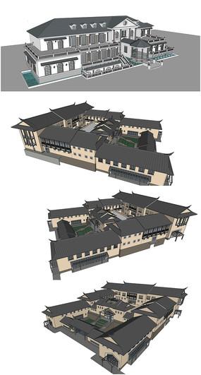 精品欧式会所建筑SU模型