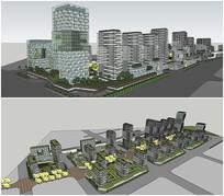 生态居住小区办公楼SU模型