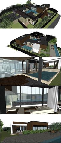 现代风格独栋别墅su模型