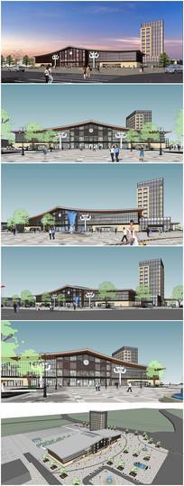现代汽车站SU模型及效果图